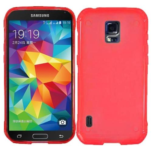 Insten For Samsung S5 Active G870 Frosted TPU Rubber Gel Rubber Skin Case Cover Red