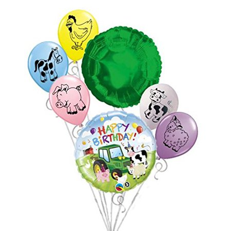 "7 pc Green Farm Tractor Balloon Bouquet Party Decoration Happy Birthday Barn, 1 - 18"" ""Happy Birthday"" Barnyard Round Balloon By Jeckaroonie Balloons"
