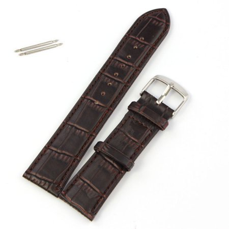 Outtop 22mm Soft Leather Strap Steel Buckle Wrist Watch Band Brown Brown Expedition Watch Band