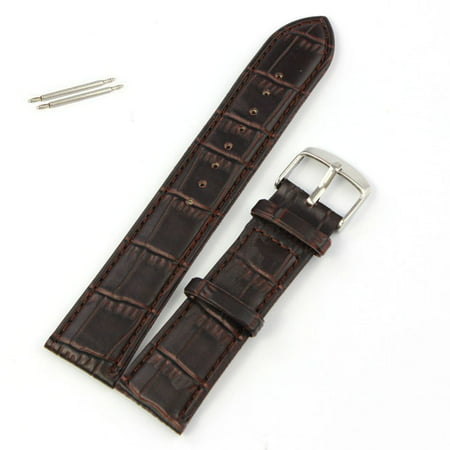 Outtop 22mm Soft Leather Strap Steel Buckle Wrist Watch Band Brown (22mm Leather Watch Bands)