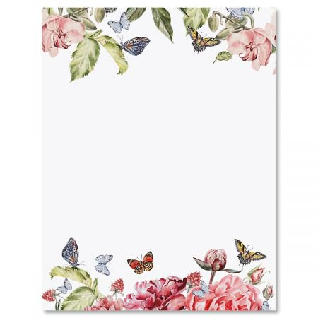 Flutter of Florals Easter Letter Papers - Set of 25 spring stationery papers are 8 1/2