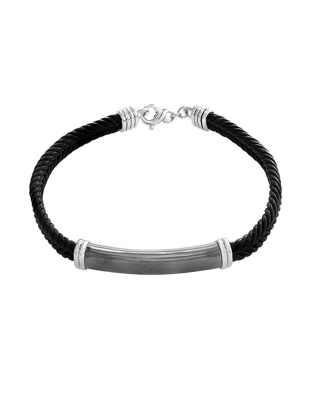 Gento Sterling Silver and Leather Bracelet