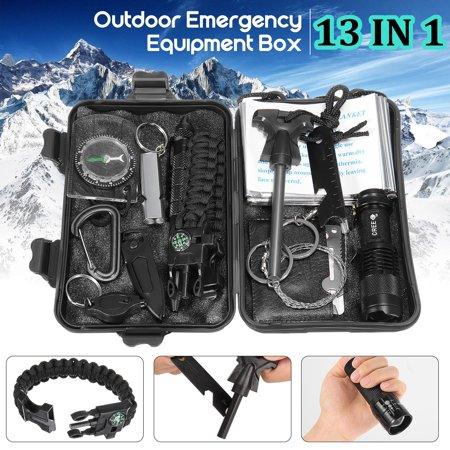 7 OR 13 in 1 SOS Outdoor Survival Kit Multi-Purpose Emergency Equipment Supplies First Aid Survival Gear Tool Kits Set Package Box for Outdoor Travel Hiking Camping Biking - Halloween Survival Kit For Teachers