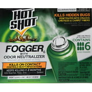 Hot Shot Fogger With Odor Neutralizer 6 Count-2 Ounce Cans, Controls Heavy Insect Infestations