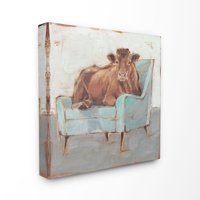 The Stupell Home Decor Brown Bull on a Blue Couch Neutral Color Painting Canvas Wall Art