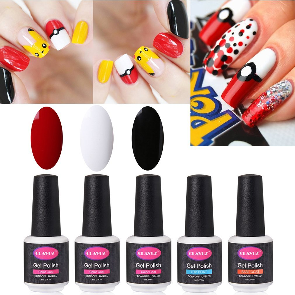 CLAVUZ Gel Nail Polish 5pcs Colors Collection Set UV LED Nail DIY Nail Art Nail Designs
