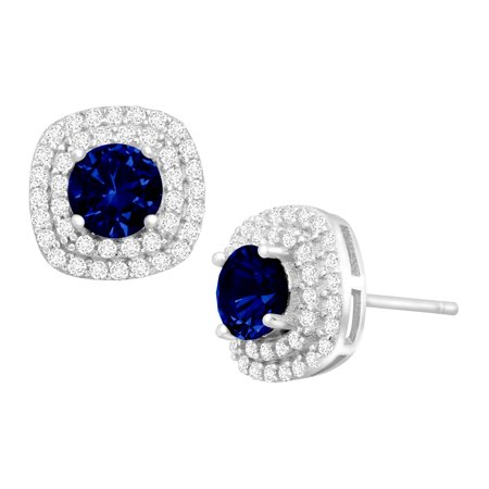 Round-Cut Created Sapphire and Cubic Zirconia Halo Stud Earrings in Sterling Silver