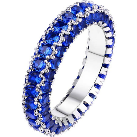Sapphire Italian - Sapphire and Italian-Cut CZ 18kt White Gold-Plated 3-Row Eternity Ring