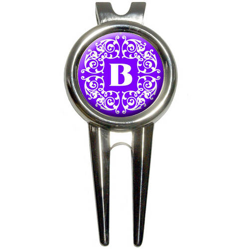 Letter B Initial Purple and White Scrolls Golf Divot Repair Tool and Ball Marker