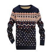 Man Crew Neck Long Sleeves Slipover Navy Blue Sweater S