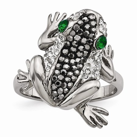 Stainless Steel Polished with Crystal Frog Ring - Size 7