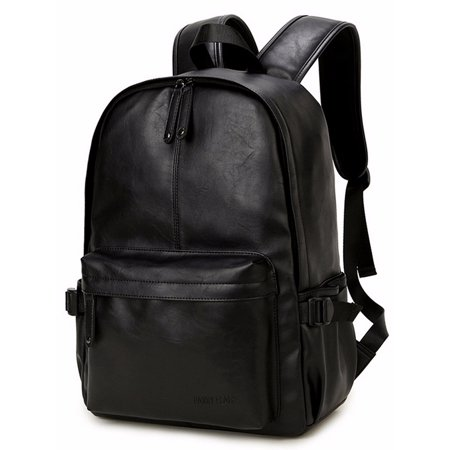 Men Women Vintage Backpack Leather Travel Bag Laptop Rucksack Satchel Bookbag (Med Black Leather Purse)