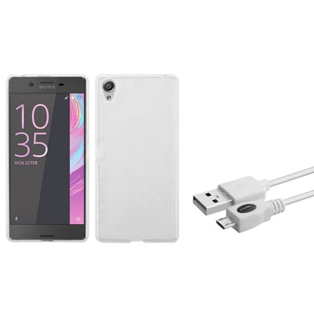 Insten TPU Case For Sony Xperia X - Clear (+ Micro USB Charger Cable)