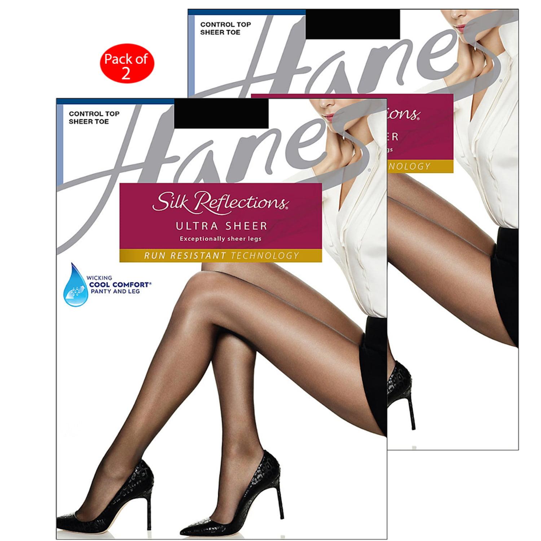 2-Hanes Silk Reflections Ultra Sheer Control Top Pantyhose Run Resistant Tech