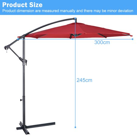 10' Hanging Umbrella Patio Sun Shade Offset Market W/ T Cross Base Burgundy - image 2 of 10