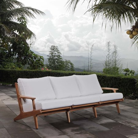 Modway Saratoga Outdoor Patio Premium Grade A Teak Wood Sofa in Natural White
