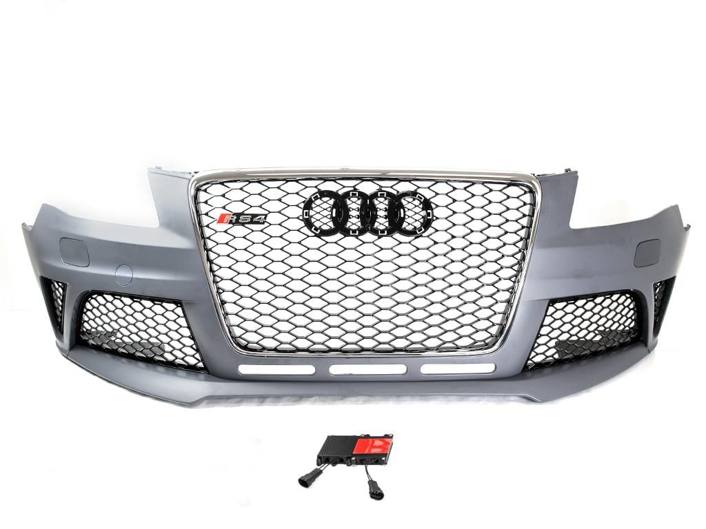 09-12 Audi A4/S4 B8 Rs4 Style Front Bumper Conversion Kit W/ Chrome Trim  Grille