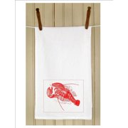 "Set of 3 Vintage Style Marine Lobster Print White Flour Sack Kitchen Hand Towels 29"""