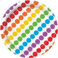 "7"" Paper Dessert Plates, Rainbow, 8ct"