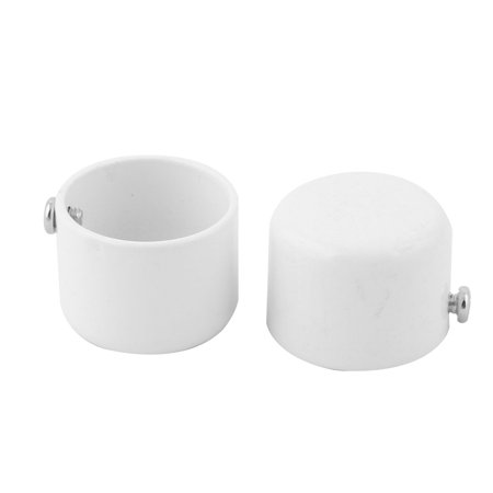 Home Dormitory Metal Round Window Curtain Rod Ending Cap Finial White 2pcs ()
