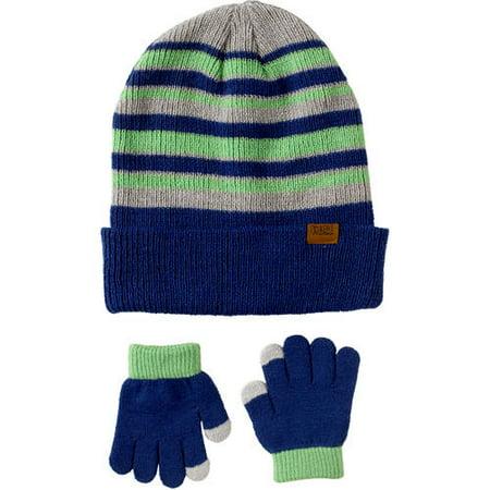 iXtreme Toddlerdler Boy Striped Knit Hat & Gloves 2pc Set