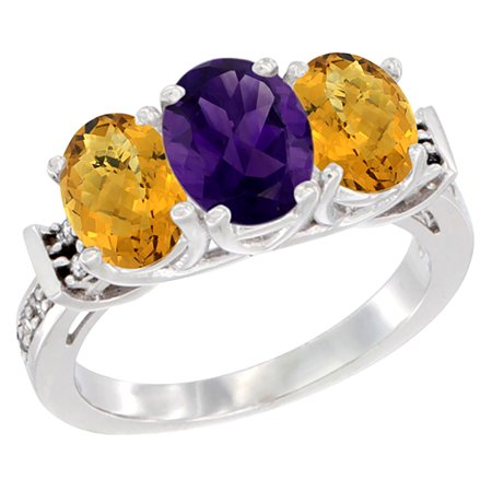 14K White Gold Natural Amethyst & Whisky Quartz Sides Ring 3-Stone Oval Diamond Accent, size 5