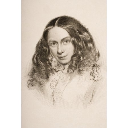 Barret Place Collection - Elizabeth Barret Browning In March 1859 English Poet 1806 1861 Engraved By G Cook From A Portrait By Field Talfourd PosterPrint