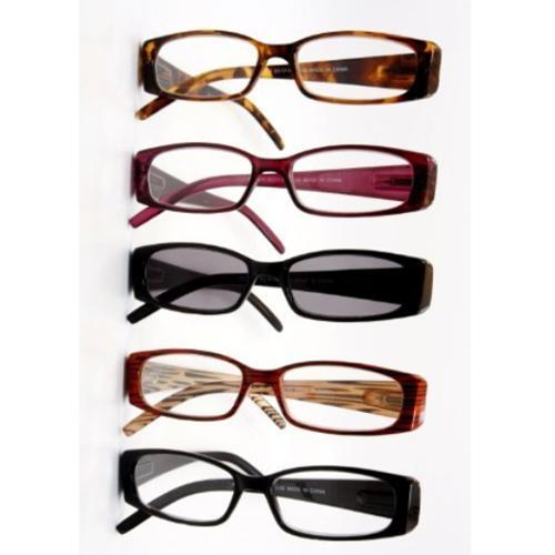 Spring Hinge Plastic Reading Glasses +2.00 (5 Pairs), Includes Sunglass Readers, Serenity Collection