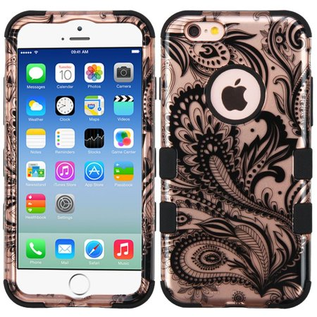 iPhone 6s Case, iPhone 6 Case, by Insten Tuff Phoenix Flower Dual Layer [Shock Absorbing] Hybrid Rubberized Hard Plastic/Silicone Case Cover For Apple iPhone 6/6s, Rose Gold/Black