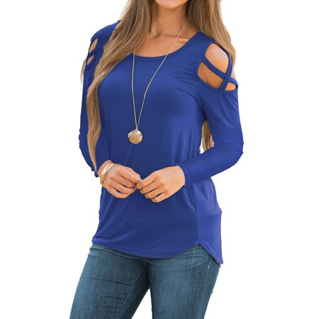 Cold Shoulder Tie Sleeve Top (JustVH Women's Cold Shoulder Hollow Casual Tops Basic Solid T Shirts )