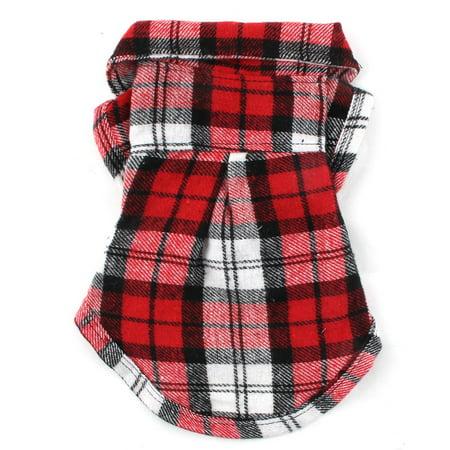 Pet Dog Cotton Blend Grid Pattern T-Shirt Lapel Vest Jacket Clothe Grids Pattern Cotton Blends