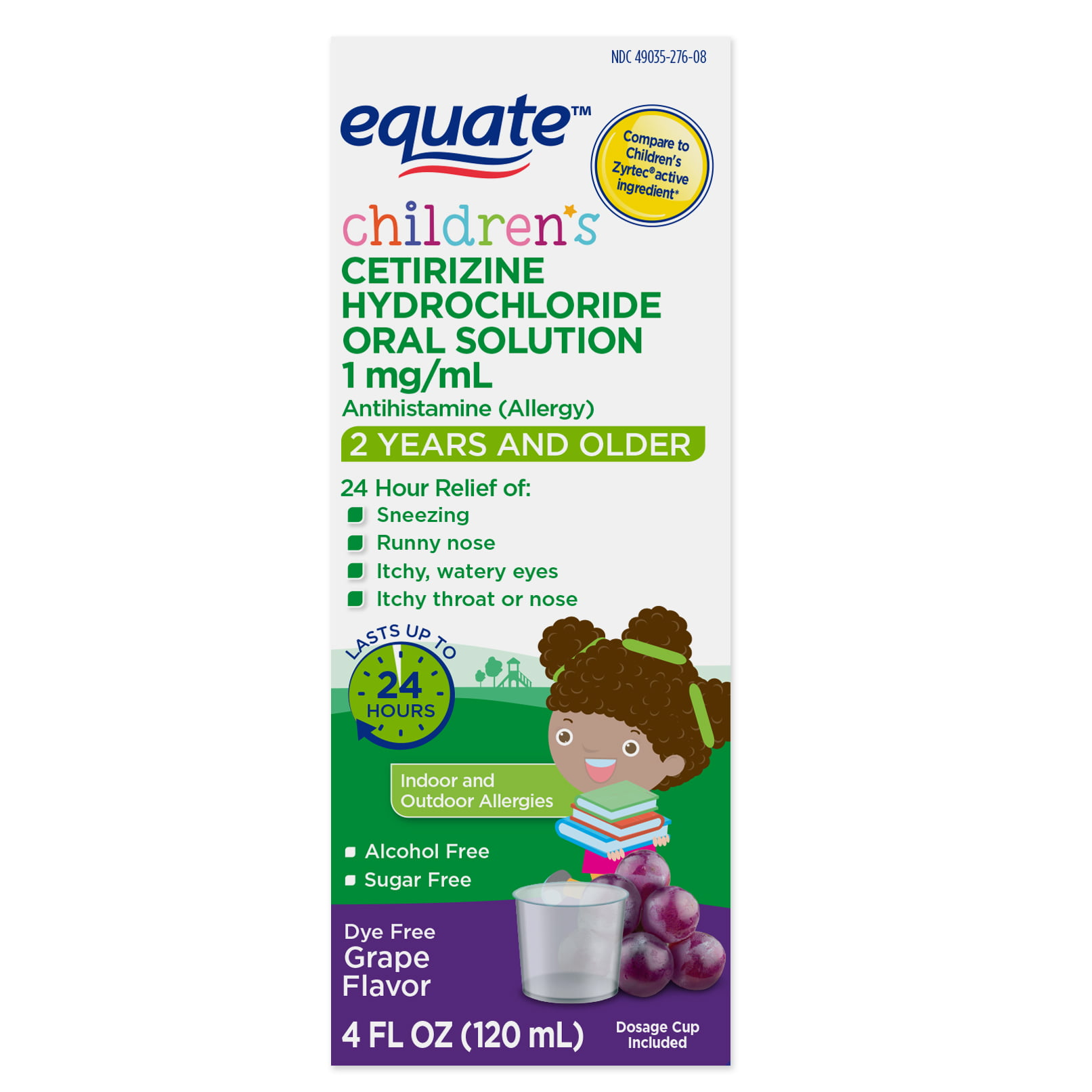 Equate Children's Allergy Cetirizine Suspension, Grape, 4 oz, Sugar-Free, Dye-Free