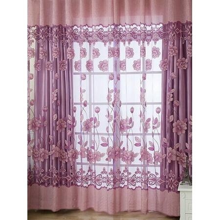 e397bafed75 Topcobe Floral Tulle Voile Door Window Curtain Balcony Drape Panel Sheer  Scarf Valances