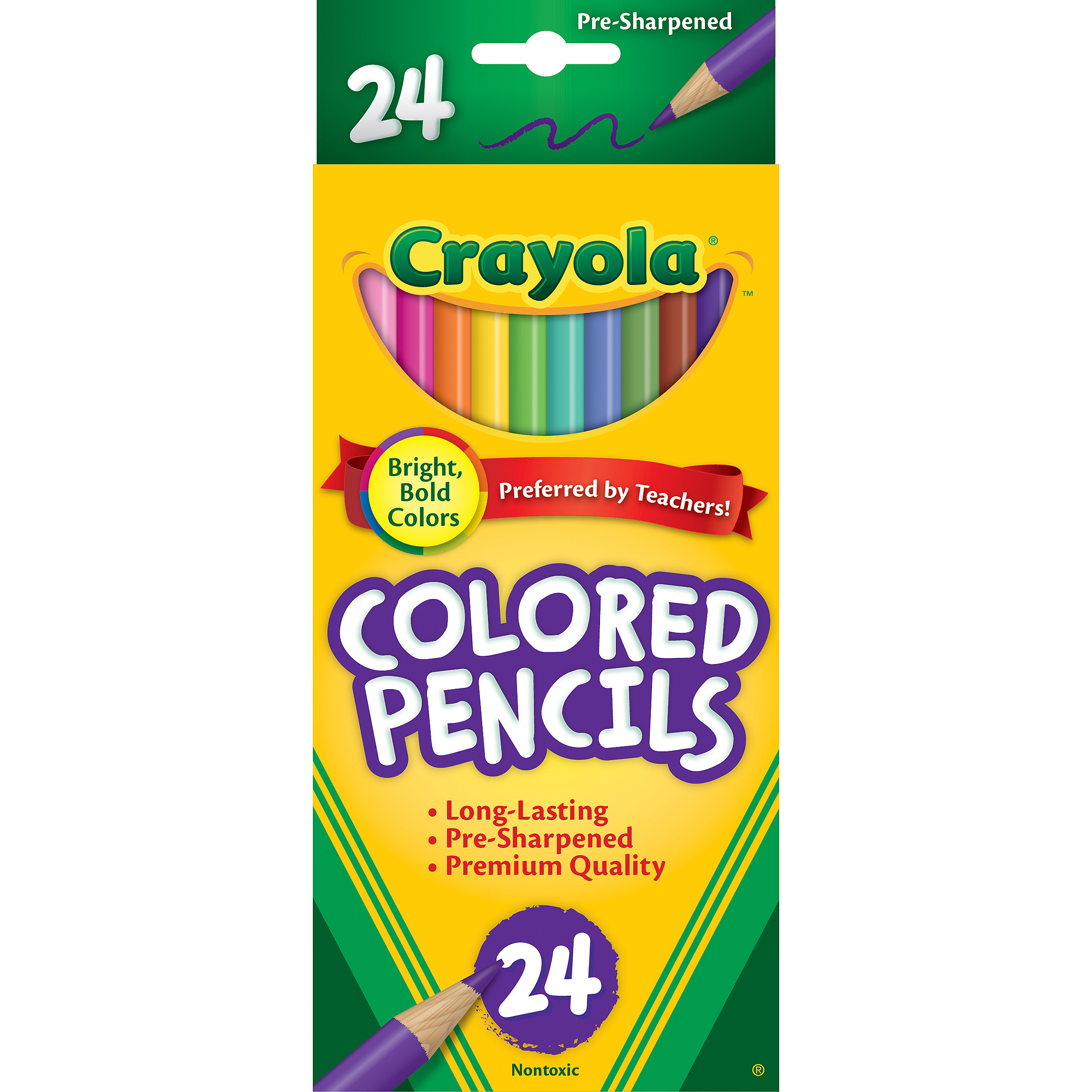 Crayola Long Barrel Colored Woodcase Pencils, Pre-sharpened 24-Count