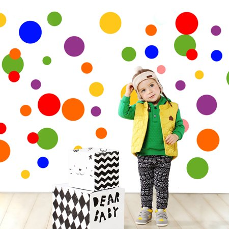 - Room Mates - Primary Colors Just Dots Peel & Stick Wall Decals Stickers Removable PVC Glass Wall Decals Circle Dots for Art Decor Nursery Kids Rooms Living Rooms