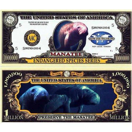 Set of 10 Bills-Endangered Manatee Million Dollar Bill by, By Novelties - Inflatable Novelties Wholesale