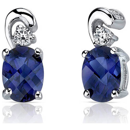 Oravo 2.00 Carat T.G.W. Created Blue Sapphire Rhodium over Sterling Silver Drop Earrings