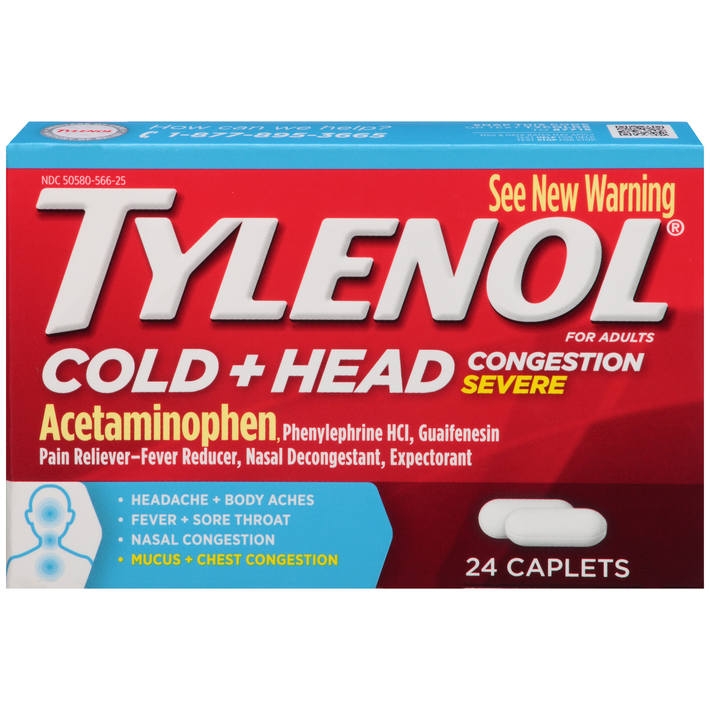 Tylenol&Reg; Cold   Head Congestion Severe, Caplets, 24 Count