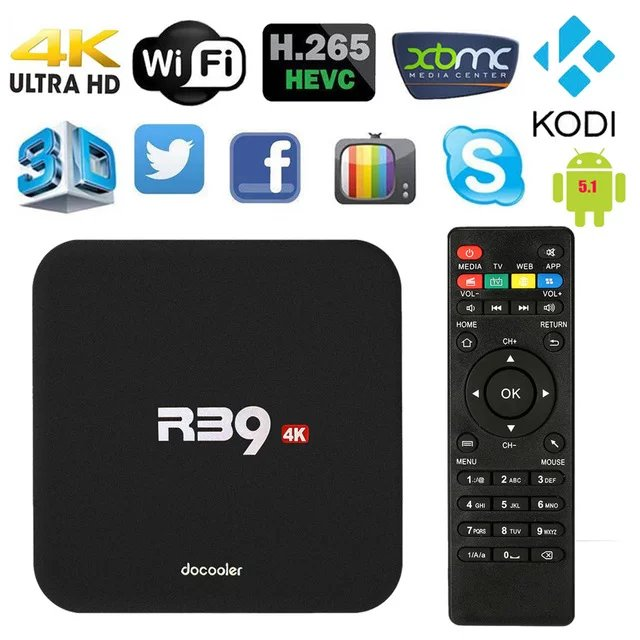 Docooler R39 Android 6.0 TV Box Rockchip RK3229 Quad-Core 1G/8G UHD 4K 2.4G WiFi Media Player
