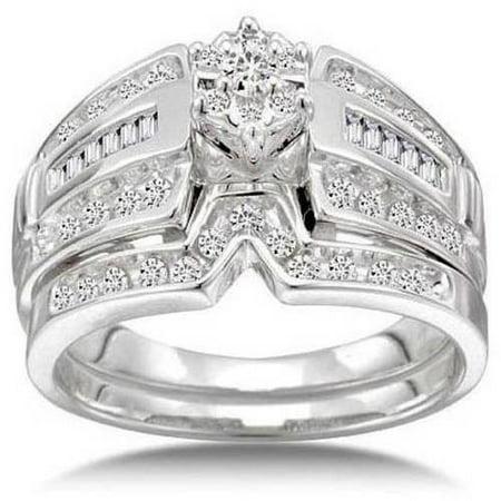 1 2 Carat Diamond 14kt White Gold Round Cluster Bridal Set