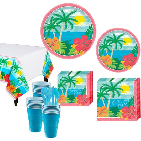 Party City Summer Vibes Tableware Kit for 60 Guests, 643 Pieces, With Utensils (Party City Summer)