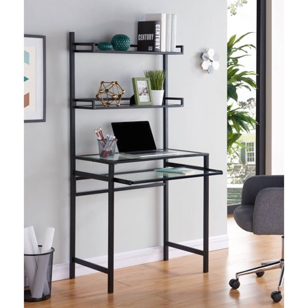 Southern Enterprises Black Desk (Southern Enterprises Braxlin Metal/Glass Small-Space Desk with Hutch, Black)