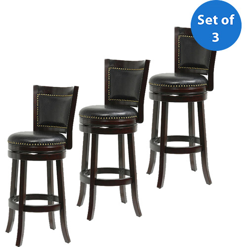 "Boraam Bristol Swivel Bar Stool, 29"", Set of 3, Multiple Finishes"
