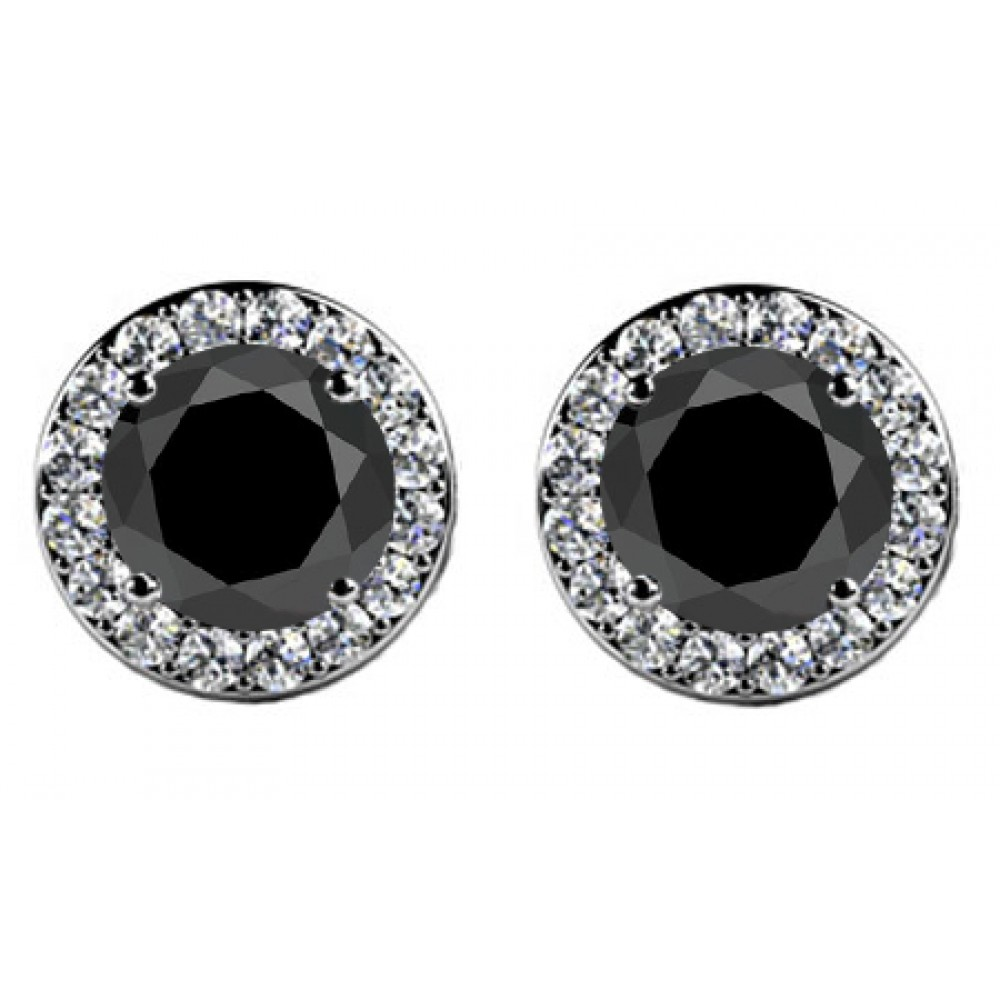 Madina Jewelry 4 00 Ct Round Cut Black Diamond Studs Earrings With Side Diamonds