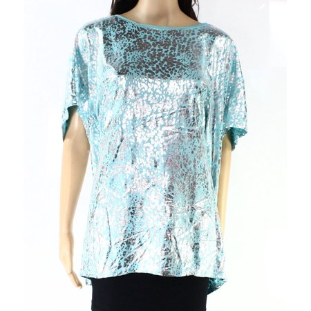 Sejour Nordstrom New Blue Womens Size 3X Plus Metallic Scoop Neck Blouse