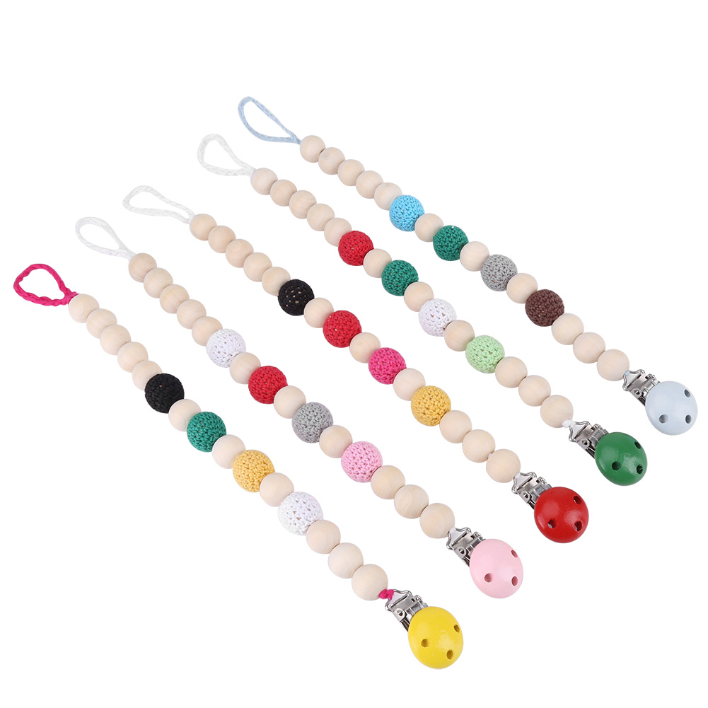 Tbest Pacifier Strap, Soother Holder,Infant Pacifier Soother Holder Crochet Wooden Beads Chain Metal Clip Baby Shower Feeding Toy