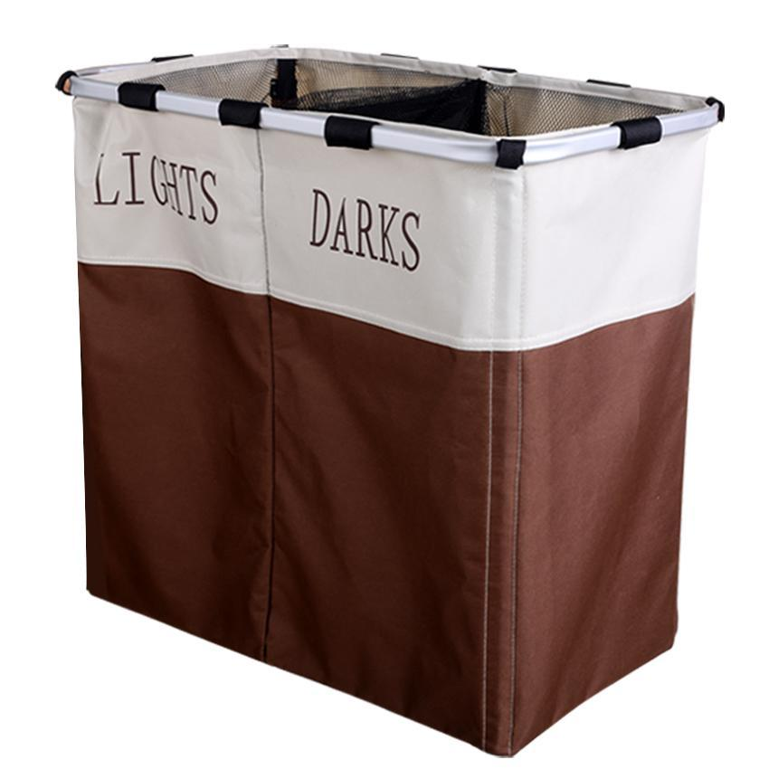 Foldable 2 Sections Laundry Basket Double Washing Clothes Sorter Basket Bin Storage Hamper OCTAP