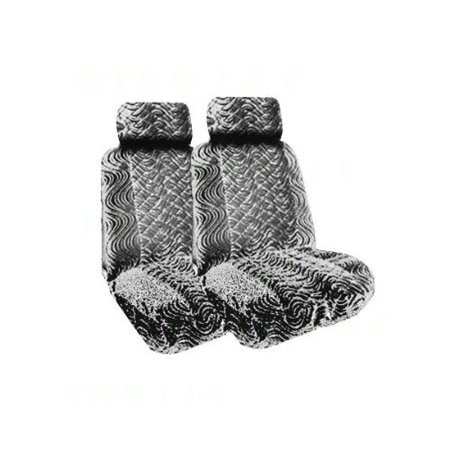 A Set of 2 Universal Fit Low Back Swirl Pattern Front Bucket Seat Cover, A Set of 4 Universal Fit Plush Carpet Floor Mats for Cars and One Universal Fit (Universal Fit Swirl)