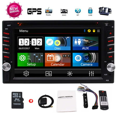 EinCar 2 Din Car GPS Navigation 6.2'' Capacitive Touch Screen in-Dash Car Stereo DVD CD Bluetooth GPS Radio Entertainment support USB SD AUX 1080P in with 8G Navi Card + Rear View