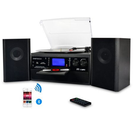 DIGITNOW Bluetooth Record Player Turntable with Stereo Speaker, LP Vinyl to  MP3 Converter with CD, Cassette, Radio, Aux in and USB / SD Encoding,